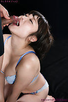 Head thrown back cumming in her mouth