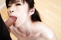 Yurikawa Sara on her knees sucking cock and cum on face