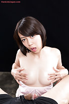 Sawamoto Yukie with hands on bare breasts