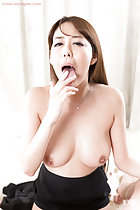 Asagiri Akari licking cum from her fingers topless