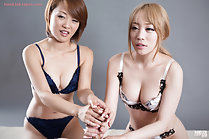 Girls giving handjob together in underwear big breasts