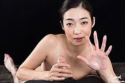 Enami Ryu Holding Spent Cock Cum On Her Hands