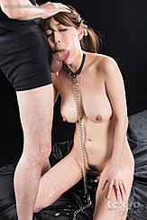 Cheek Bulging With Cock Bondage Chain Between Her Big Tits Thighs Parted