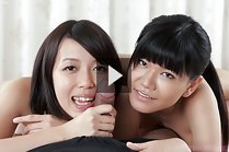 Mamiya Tsukushi and Sawamoto Yukie sharing cock together