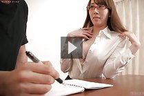 Busty tutor Kisaki Aya shows cleavage and sucks students cock
